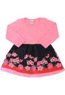 Vestido Infantil Floral Com Strass - Teddy Collor