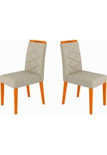 Conjunto Com 2 Cadeiras Caroline Ipê E Cinza