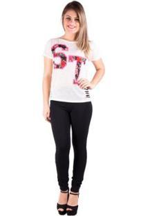Camiseta Banna Hanna Salto Triplo Sublimada Com Detonação Off White Feminina - Feminino-Bege