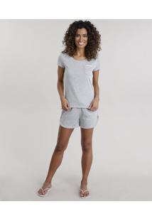 Pijama Com Recorte Em Veludo Cinza Mescla Claro