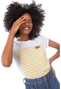 Camiseta Lez A Lez Estampada Branca/Amarela