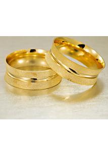 Aliança De Ouro Chanfrada Lisa - As1262