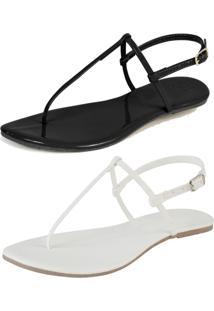 Kit 2 Pares Rasteira Simples Mercedita Shoes Verniz Preto E Napa Branca