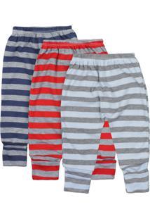 Calça Para Bebê Kit 3 Peças Listradinho Multicoloriodo - Kanui