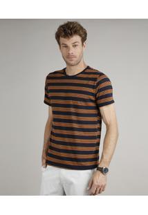 Camiseta Masculina Básica Comfort Fit Listrada Manga Curta Gola Careca Azul Marinho