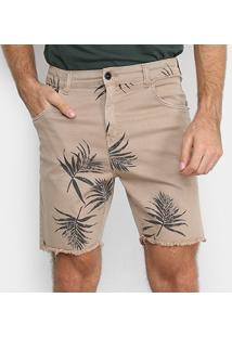 Bermuda Jeans Ellus Floral Masculina - Masculino-Cáqui