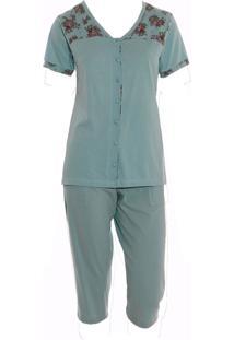 Pijama Pescador Em Malha Rmb Lingerie Verde