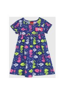 Vestido Kyly Infantil Peixes Azul