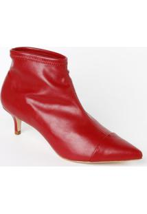 Ankle Boot Em Couro Com Recortes & Pespontos - Vermelha