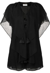 Saint Laurent Vestido Kaftan Com Mangas 3/4 - Preto