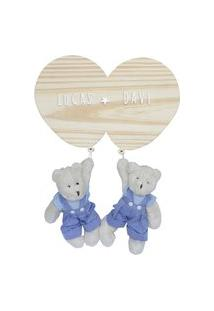 Enfeite Bexigas Irmãos Urso Gêmeos Meninos Maternidade Bebê Potinho De Mel