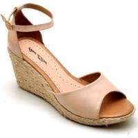 5b5bd7d58cb56 Sandália Anabela Couro D&R Shoes Feminina - Feminino-Nude