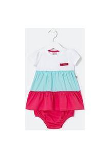 Vestido Infantil Lisa Com Recortes E Calcinha - Tam 0 A 18 Meses | Teddy Boom (0 A 18 Meses) | Branco | 0-3M
