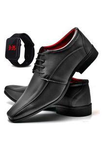 Sapato Social Fashion Com Relógio Led Dubuy 804El Preto