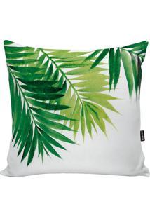 Capa Para Almofada Impermeável Folhas- Branca & Verde