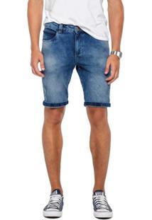 Bermuda Azul Escuro Slim Em Jeans Índigo