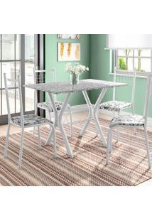 Conjunto De Mesa Miame Com 4 Cadeiras Lisboa Branco Prata E Branco Floral