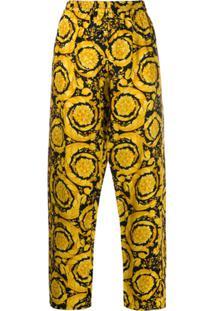 Versace Calça De Pijama Com Estampa Barroca - Amarelo