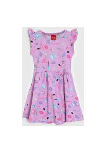 Vestido Tricae Infantil Maquiagem Rosa