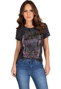 Camiseta Royal Guess Feminina - Feminino-Cinza