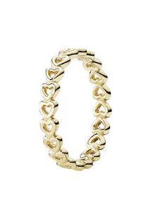 Anel Corações Unidos- Dourado- Tamanho 52 = 12- Pandora
