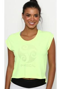 Blusa Cropped Com Fendas- Amarelo Neon- Physical Fitphysical Fitness