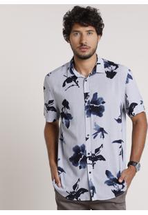 Camisa Masculina Relaxed Listrada Com Flores Manga Curta Azul