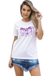 Camiseta Feminina Joss Eyes Roxo Branco