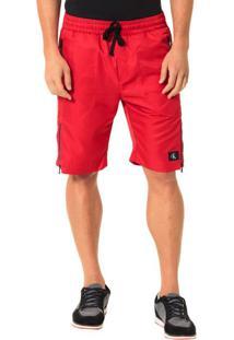 Bermuda Calvin Klein Jeans Listra Zíper Vermelho - G