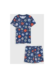 Pijama Malwee Liberta Curto Infantil Monstrinho Azul-Marinho