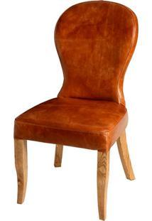 Cadeira Leather De Madeira Carvalho Americano Sem Braço Assento E Encosto De Couro E Linho