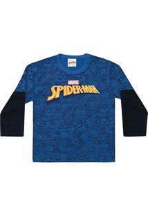 Camiseta Infantil Fakini Spider Man Capa Manga Longa Masculina - Masculino