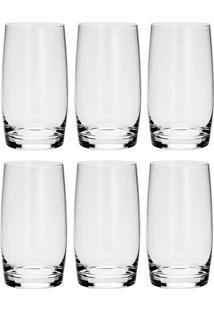 Conjunto 6 Copos Alto De Cristal Long 400Ml Drink Ideal - Bohemia - Transparente