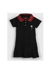Vestido Polo Ellus Kids Infantil Frisos Preto