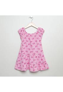 Vestido Ciganinha Flamingos - Rosa Claro & Rosa -Pritip Top