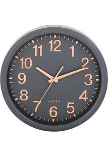 Relógio De Parede- Cinza Escuro & Rosê Gold- Ø35X5,5Mart