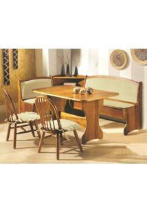 Conjunto De Mesa E Cadeiras Para Sala De Jantar De Canto 6951-Monte Carlo - Imbuia