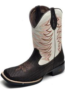 Bota Country Top Franca Shoes Bico Quadrado Masculina - Masculino-Cafe
