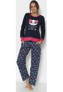 "Pijama Panda ""Cute One""- Azul Marinho & Verde Água- Puket"