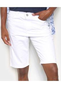 Bermuda Sarja Ecxo Básica Lisa Masculina - Masculino-Branco