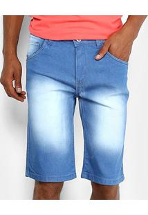 Bermuda Jeans Preston Estonada Masculina - Masculino-Azul Claro