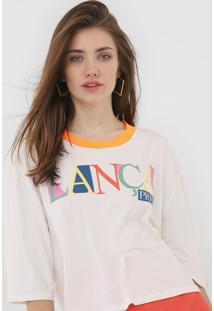 Camiseta Lança Perfume Lettering Neon Off-White/Laranja
