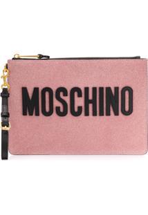Moschino Porta-Moedas Com Brilho - Rosa
