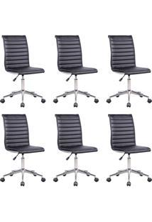 Conjunto Com 6 Cadeiras De Escritório Secretária Giratórias Marilyn Preto