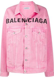 Balenciaga Jaqueta Jeans Com Logo Bordado - Rosa