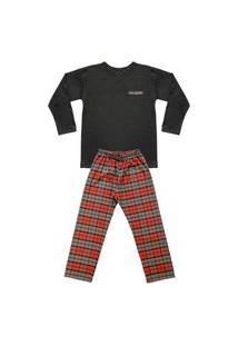 Pijama Juvenil Look Jeans Pai E Filho Laranja/Preto