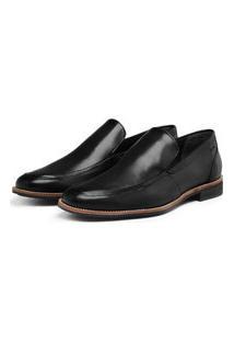 Sapato Social Couro Estilo Loafer Calce Fácil Avalon Fredo Preto