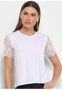 Camiseta Aura Manga Curta Renda Feminina - Feminino-Off White