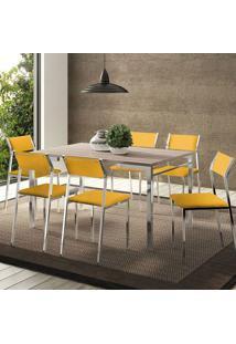 Conjunto Mesa 1526 Nogueira Cromada Com 6 Cadeiras 1709 Amarela Carraro