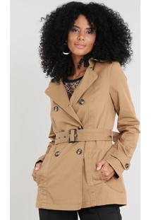 Casaco Trench Coat Feminino Com Bolsos Caramelo